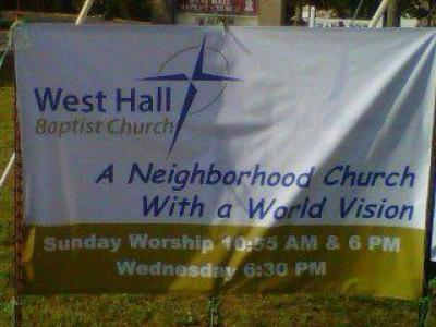 West Hall Baptist Church sign