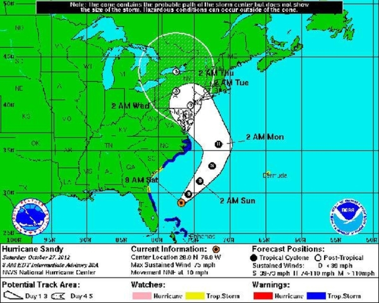 Hurricane Sandy map