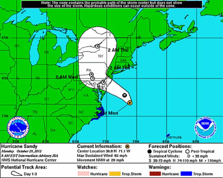 National Hurricane Center: Hurricane Sandy 2012 Path Turns