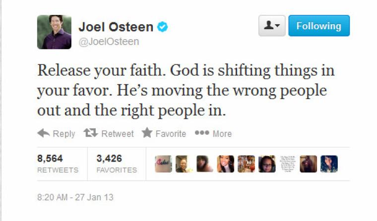 Joel Osteen Ministries Tweet