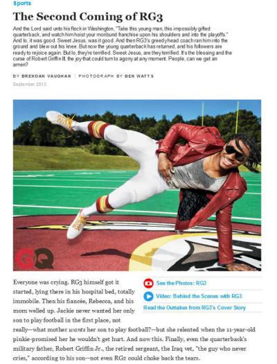 GQ magazine RG3 cover story