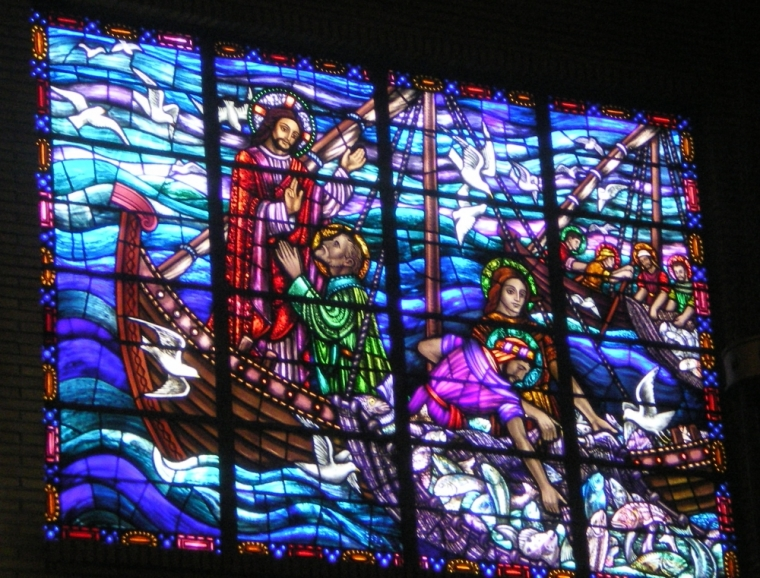 Stained Glass of Jesus and Fishermen, Mary Star of the Sea Church