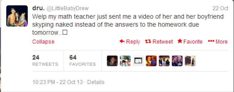 dru. tweets news of TA sexing video