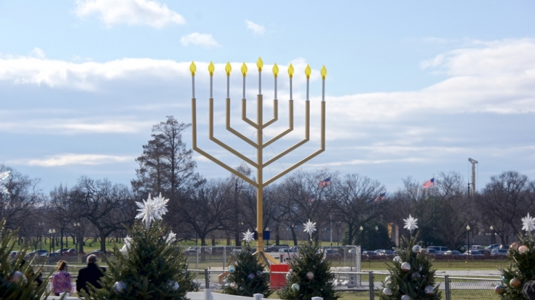 Above, the National Menorah in Washington D.C. Dutch Christian Zionists are building a menorah that they believe is Europe's largest as a declaration of solidarity with the country's Jews.