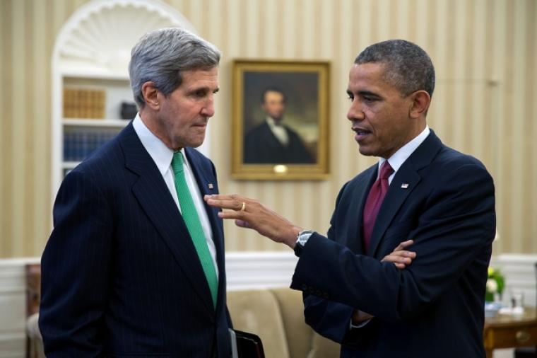 President Barack Obama (R) and John Kerry