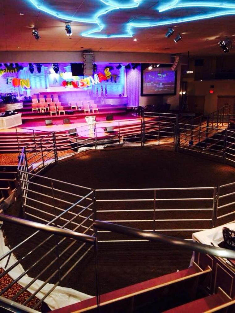 Solid Rock Church reconfigured its sanctuary to allow enough space for the horse and its rider.