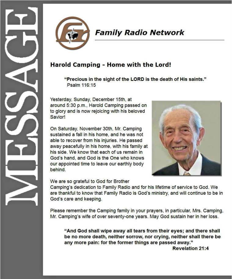 Harold Camping Dead Email