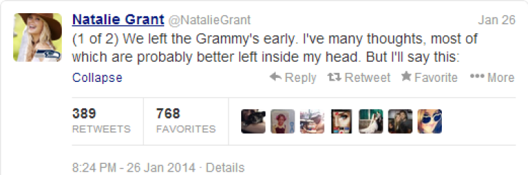 Natalie Grant Leaves Grammys Early