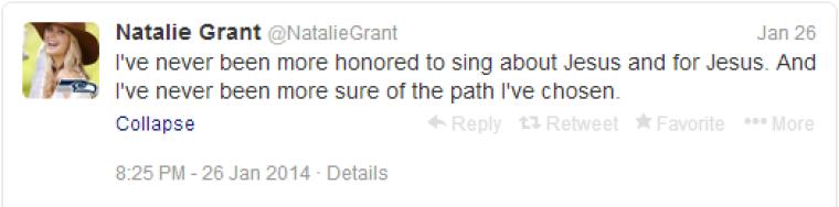 Natalie Grant Tweet