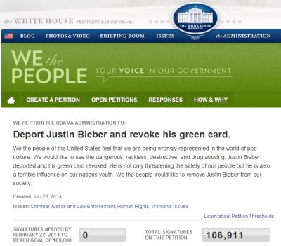 Deport Justin Bieber Petition