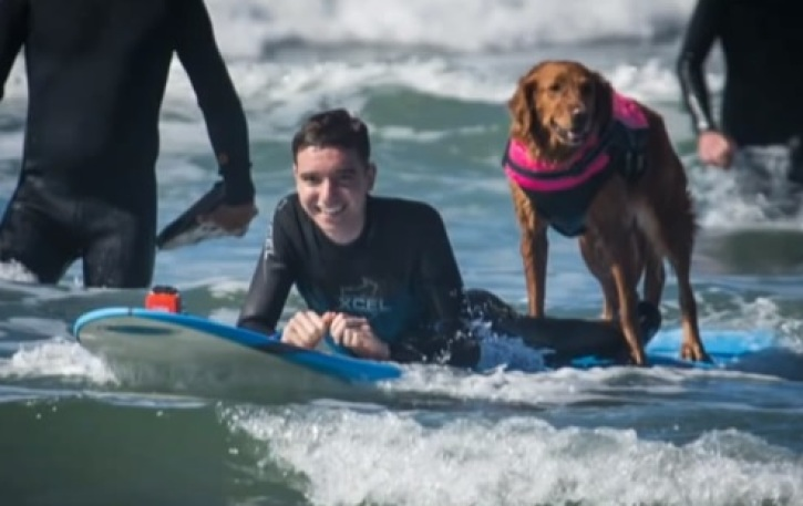 Surf Dog Helps One Teen Diagnosed With Brain and Spine Cancer