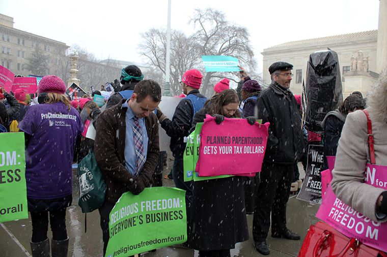 Protesters demonstrate outside the Supreme Court building
