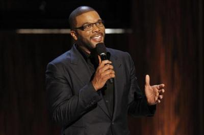 Actor and director Tyler Perry speaks during the taping of the Spike TV special tribute ''Eddie Murphy: One Night Only'' at the Saban theatre in Beverly Hills, California, Nov. 3, 2012.