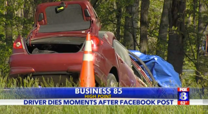 Woman Dies in Crash Moments After Posting to Facebook While
