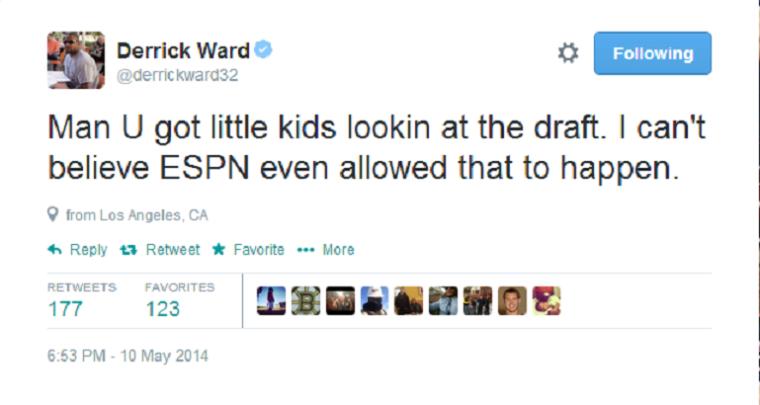 Derrick Ward, Twitter