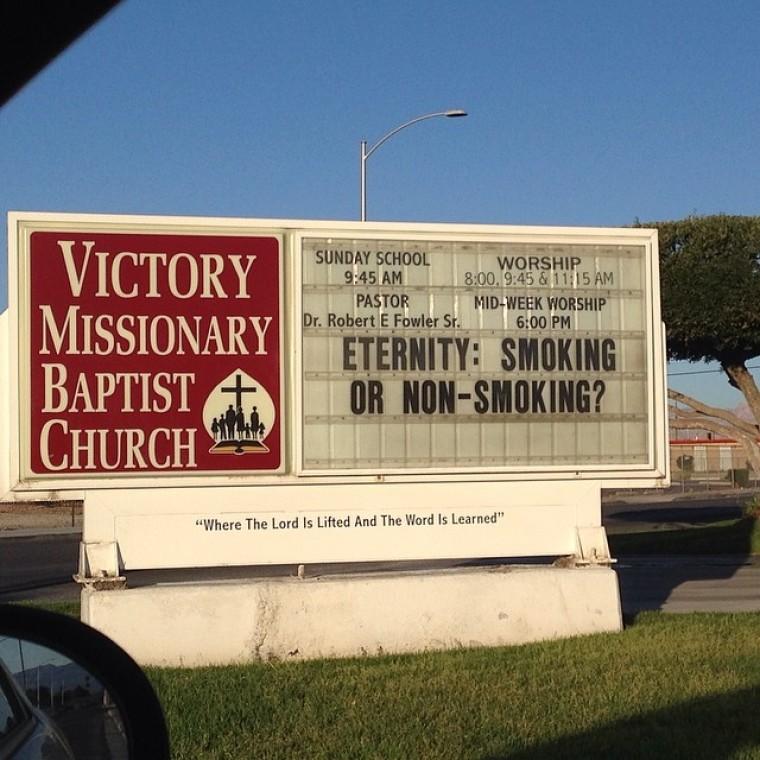 Church sign - smoking