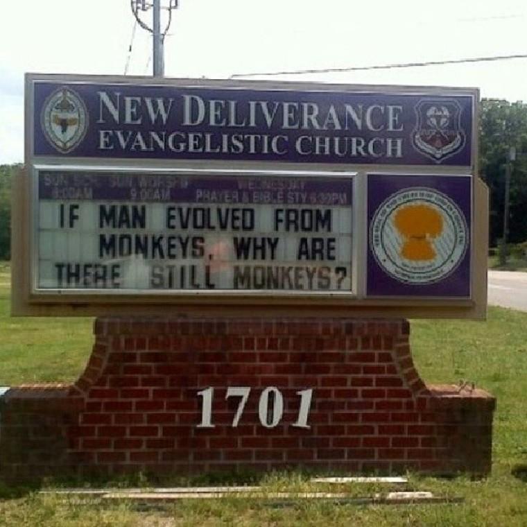 Church sign - evolution