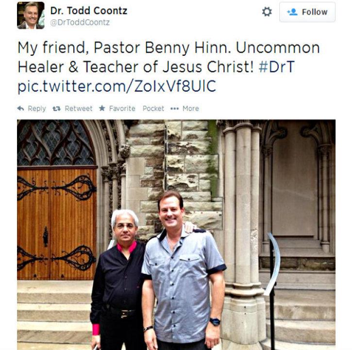 Evangelist Benny Hinn, Citing Financial Teacher Todd Coontz, Asks