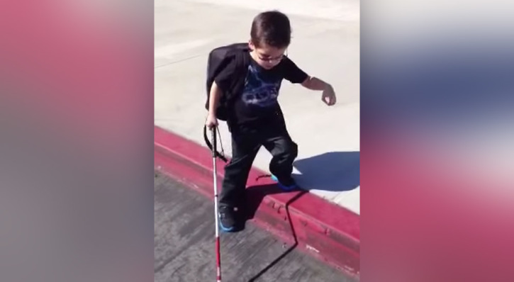Watch This Blind 4-Year-Old Find the Courage to Step Down a Curb for