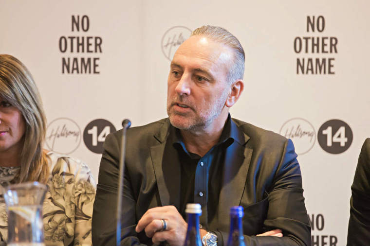Pastors Brian Houston of Hillsong Church speaks at a press conference on Thursday, Oct. 16, 2014, at The Eventi Hotel in New York City.