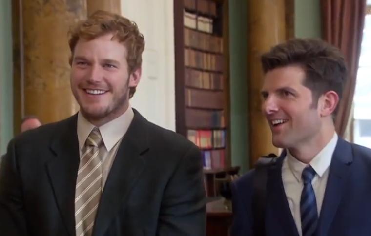Chris Pratt as Andy Dwyer and Adam Scott as Ben