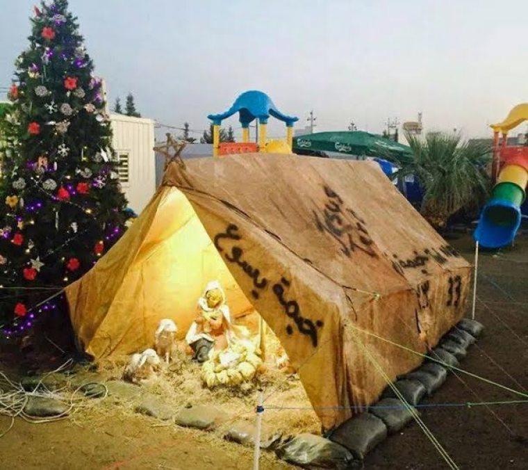 Nativity Scene in Iraq Humanitarian Aid Camp