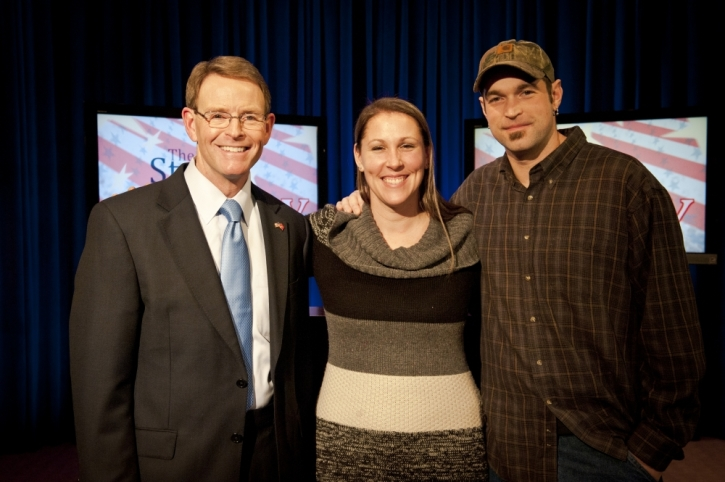 (L to R) Tony Perkins, president of Family Research Council, Melissa and  Aaron Klein, owners of Sweet Cakes by Melissa, at FRC's