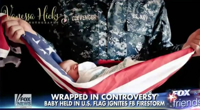 Outrage over Navy family's baby wrapped in American flag