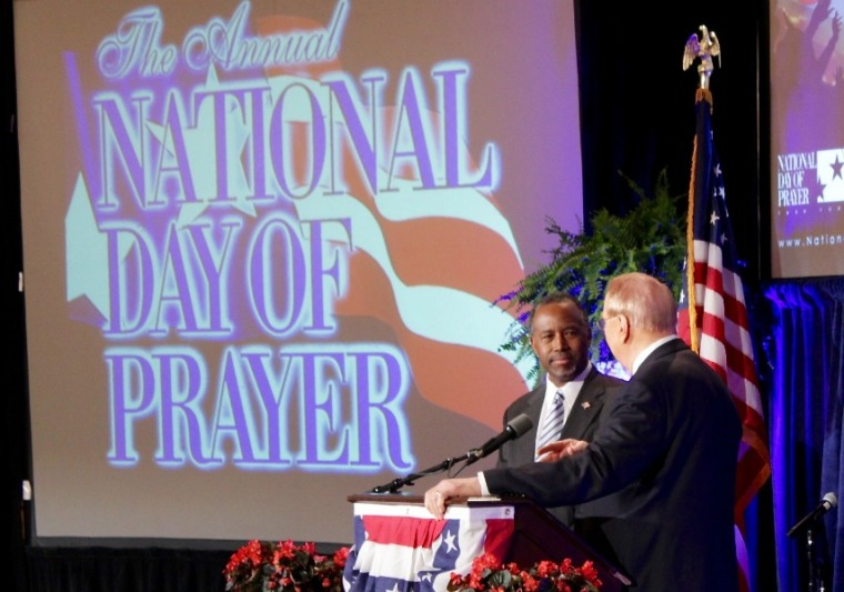 Ben Carson and James Dobson at National Day of Prayer