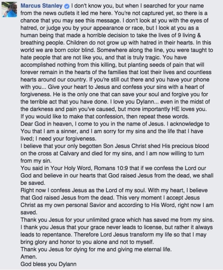 Marcus Stanley Facebook Post