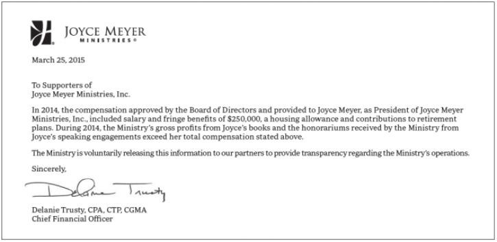 Joyce Meyer, Former Focus of Senate Probe, Was Paid $250K