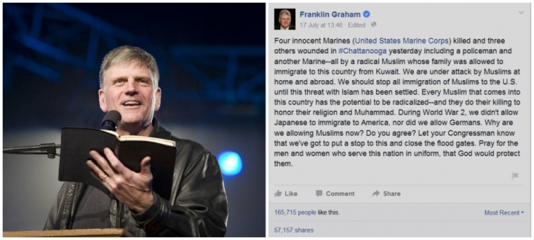 Franklin Graham facebook post on Muslims and immigration