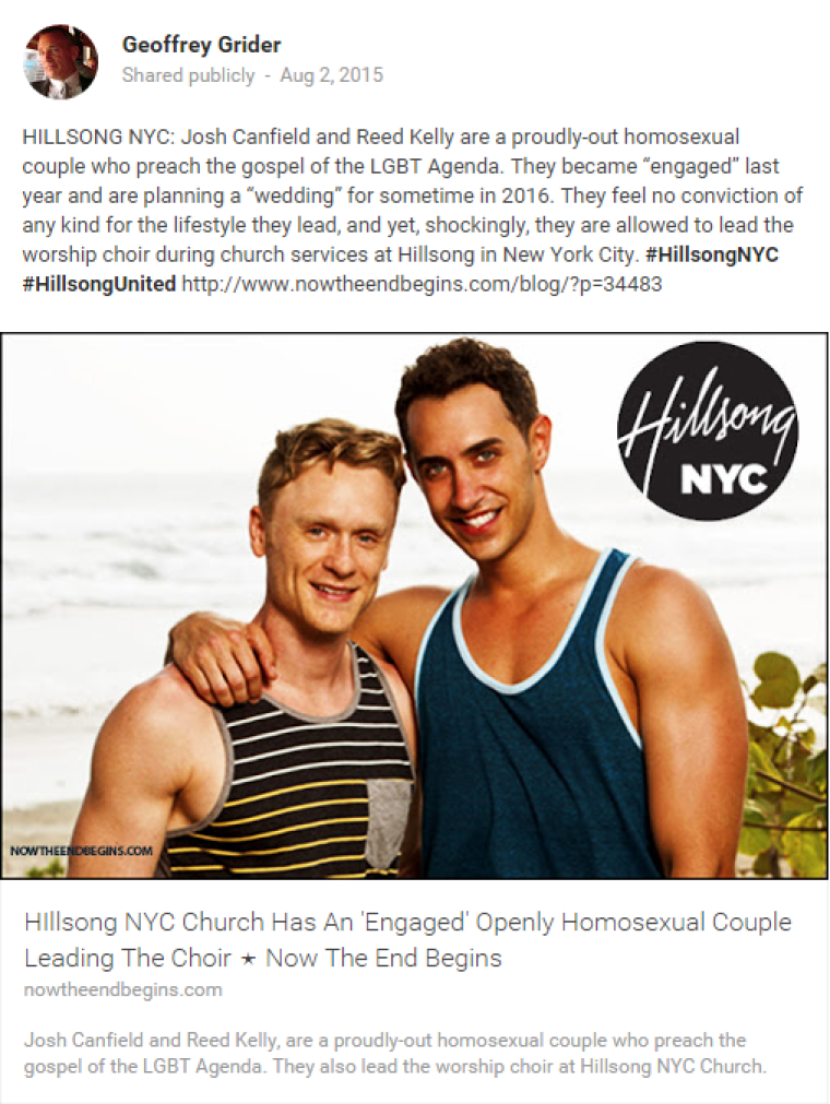 Blog Post on Hillsong NYC Gay Choir Director