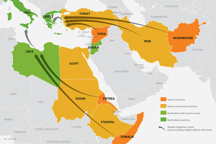 Map of migration routes