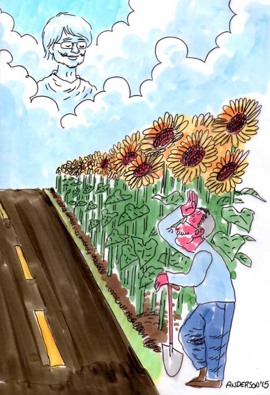 A Husband's Devotion Spelled In Sunflowers