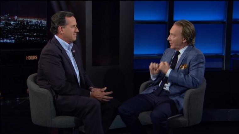 Rick Santorum (L) and Bill Maher