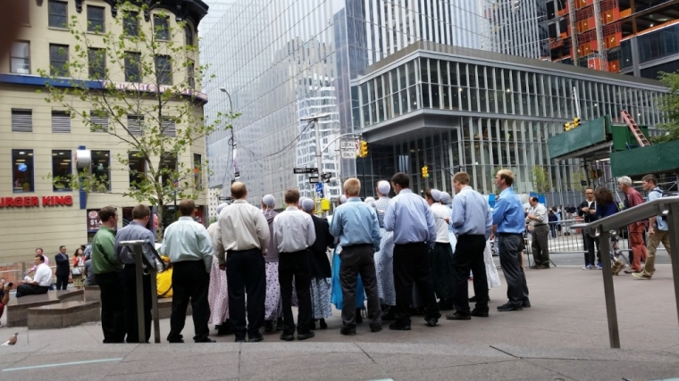Mennonite choir sings hymns near WTC in New York on 9/11