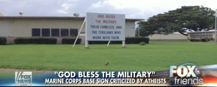"""""""God bless the military"""" sign"""