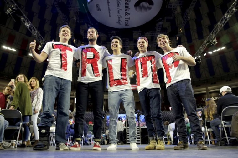 Liberty University students and supporters of Republican presidential candidate Donald Trump