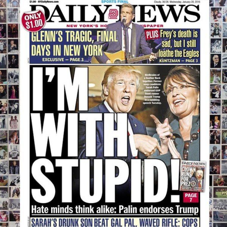 New York Daily News, Palin, Trump