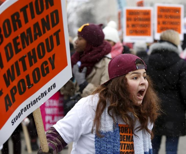 Abortion activist screaming