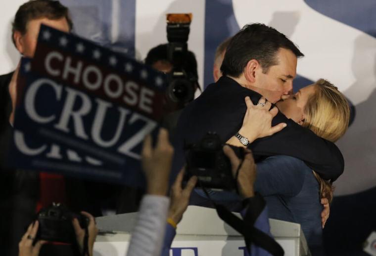 Ted Cruz kisses his wife Heidi Cruz