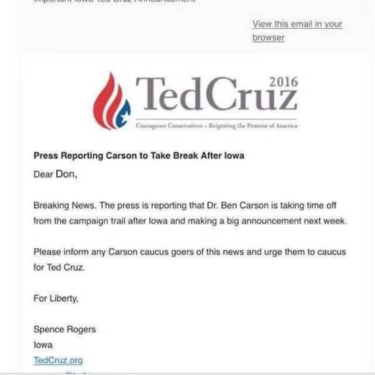 Email, Cruz Campaign