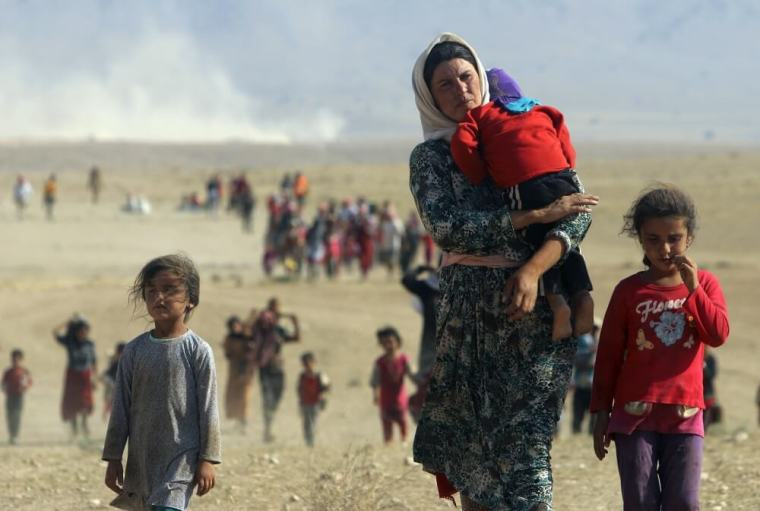 Displaced residents from the minority Yazidi sect