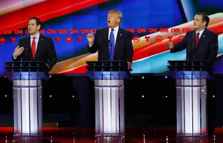 Marco Rubio, Donald Trump and Ted Cruz