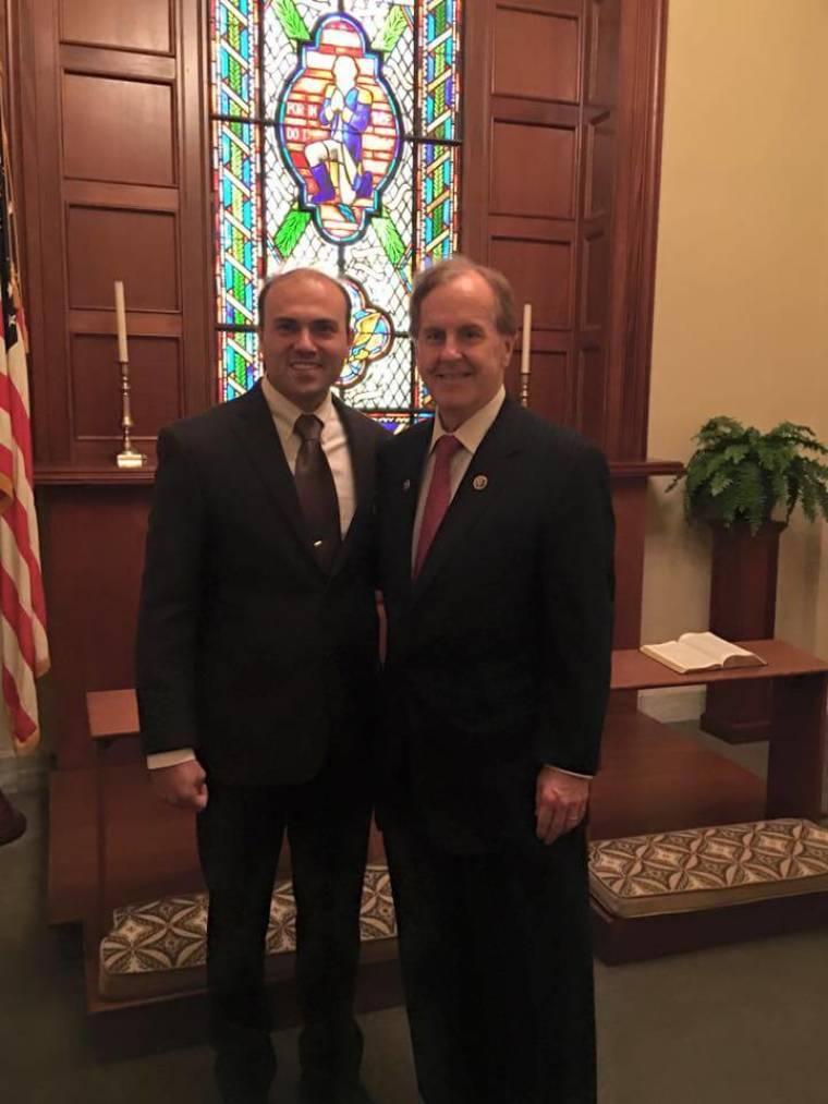 Saeed Abedini (L) and Congressman Robert Pittenger