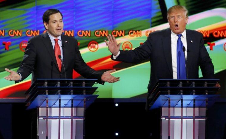 Marco Rubio (L) and Donald Trump