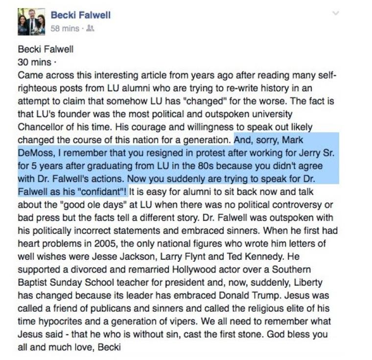 Becki Falwell Facebook post