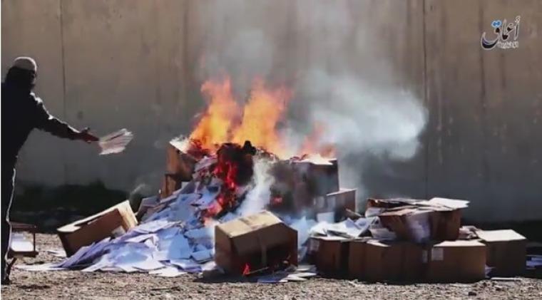 ISIS burning books