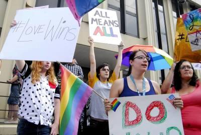 LGBT demonstrators